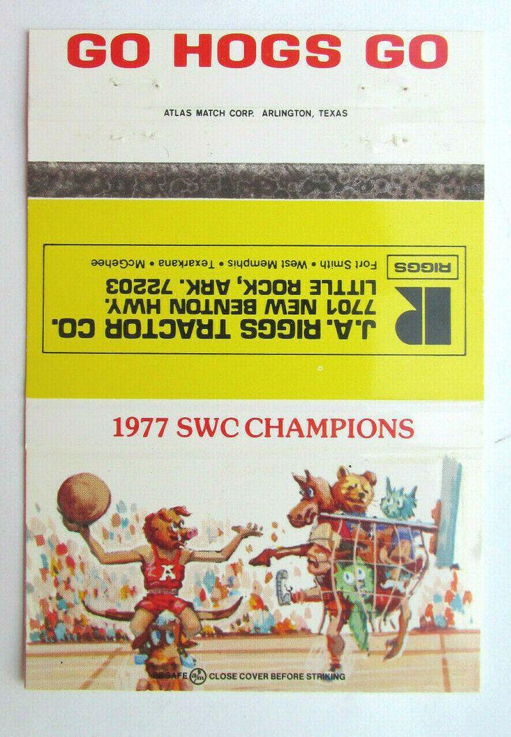 197879 Razorback Basketball 40FS Matchbook Cover Riggs