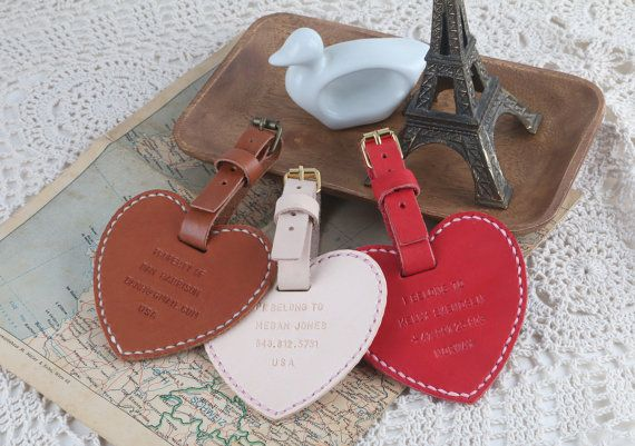 Personalized Engrave Leather Heart Shape Travel Luggage by HarLex - pink heart! <3