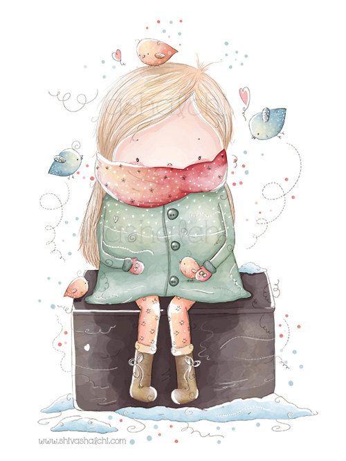 Ilustración de los niños  niña linda por ShivaIllustrations en Etsy, $10.00