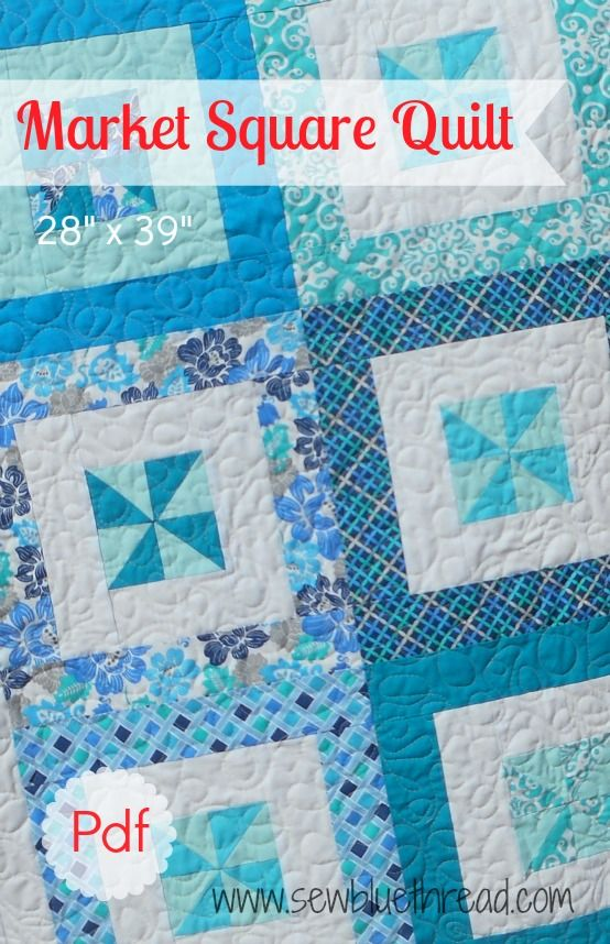 """Easy 'Market Square Quilt' pdf downloadable pattern. Finished Quilt measures 28""""x 39"""".  Great as a throw blanket, or baby blanket. Quilt top takes 8 fat quarters."""