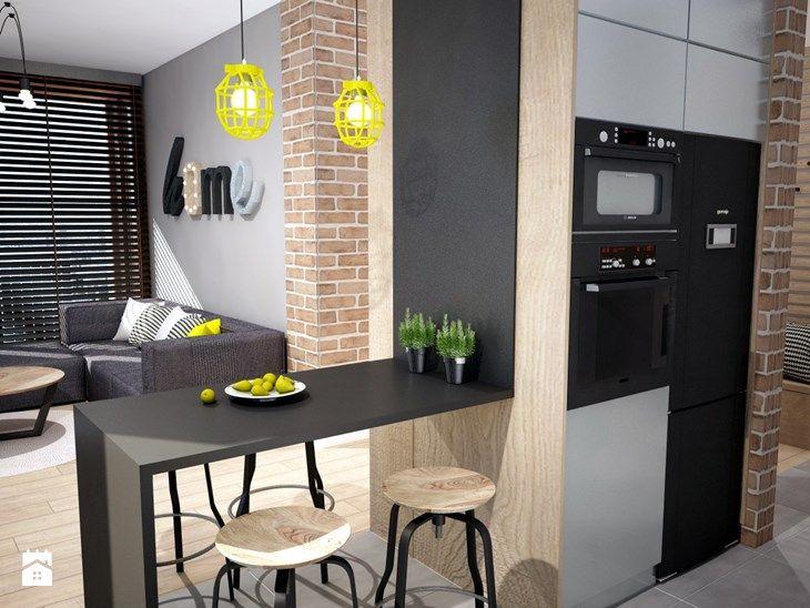 Projekt mieszkania w Warszawie - Mała otwarta jadalnia w kuchni, styl industrialny - zdjęcie od Mart-Design Architektura Wnętrz