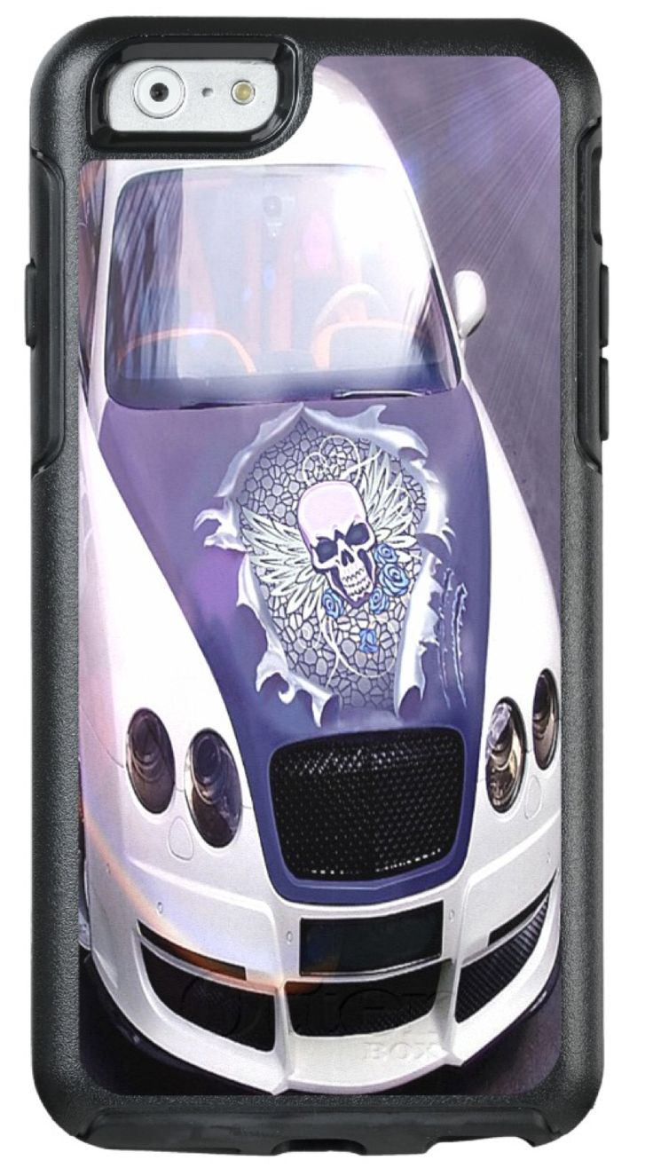 Look who's hiding under the bonnet of this fierce racer!  If you had a car like this you'd be turning heads on every corner!  But today you've got it all on your precious iPhone. You have the outstanding Otterbox protective cover with the support of our smiling Calavera!