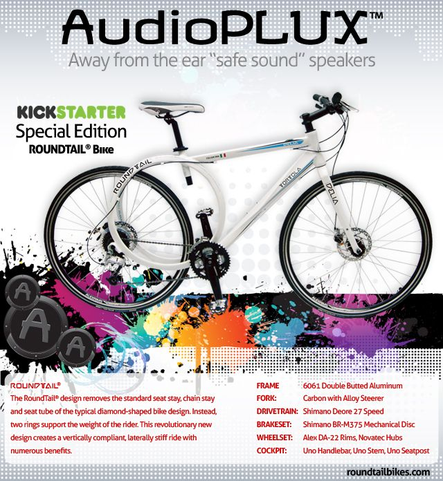 """Pledge $1,100 (CND) or more on our Kickstarter project and receive one black or one white AudioPLUX™ speaker pair together with a special edition KICKSTARTER autographed by the inventor, white DELIA hybrid model RoundTail® Bike (Medium size only 18"""") (includes free shipping to the U.S.A. and CANADA) Check it out here - http://www.kickstarter.com/projects/loutortola/safe-and-sound-audiopluxtm-helmet-speakers"""