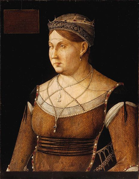Gentile Bellini (1429-1507) ~ Portrait of Catarina Cornaro ~ ca.1500 ~ Museum of Fine Arts, Budapest ~ Gentile Bellini was an Italian painter. From 1474 he was the official portrait artist for the Doges of Venice.