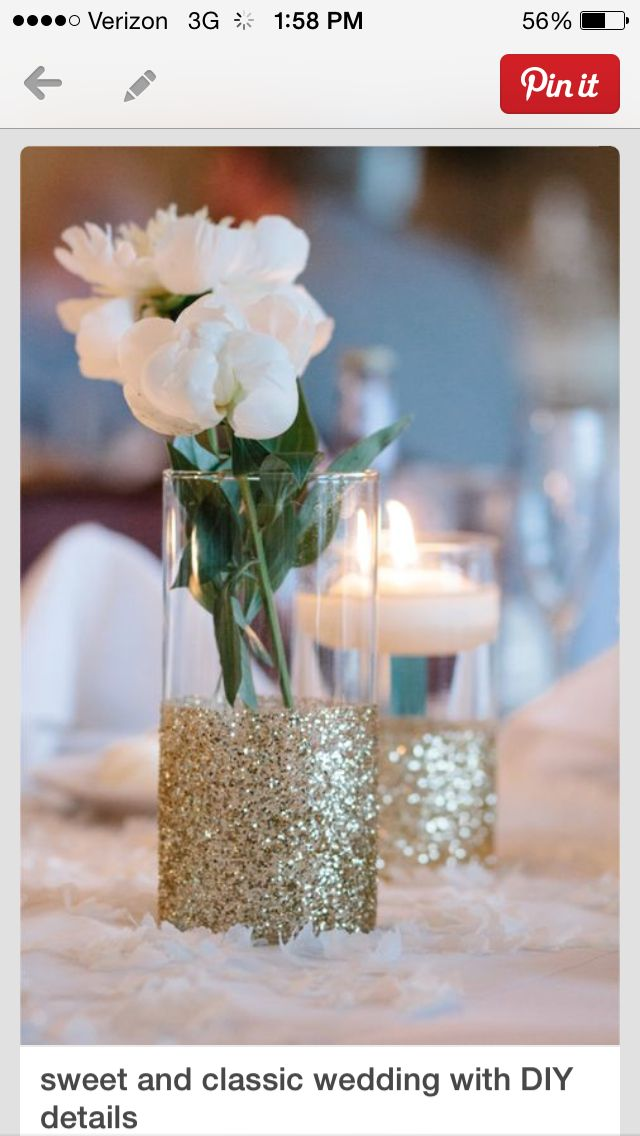 glitter on glass jars/containers