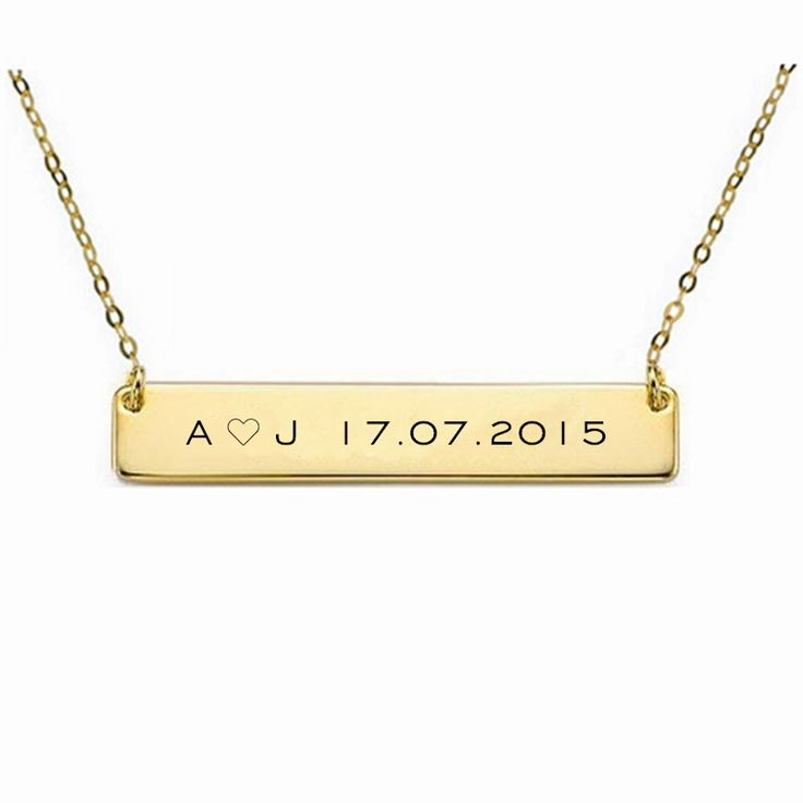 Customize Name Necklace Bar Gold Pendant Necklace,Can Engrave Word Letters Fashion Monogram Silver Necklace Personalized jewelry