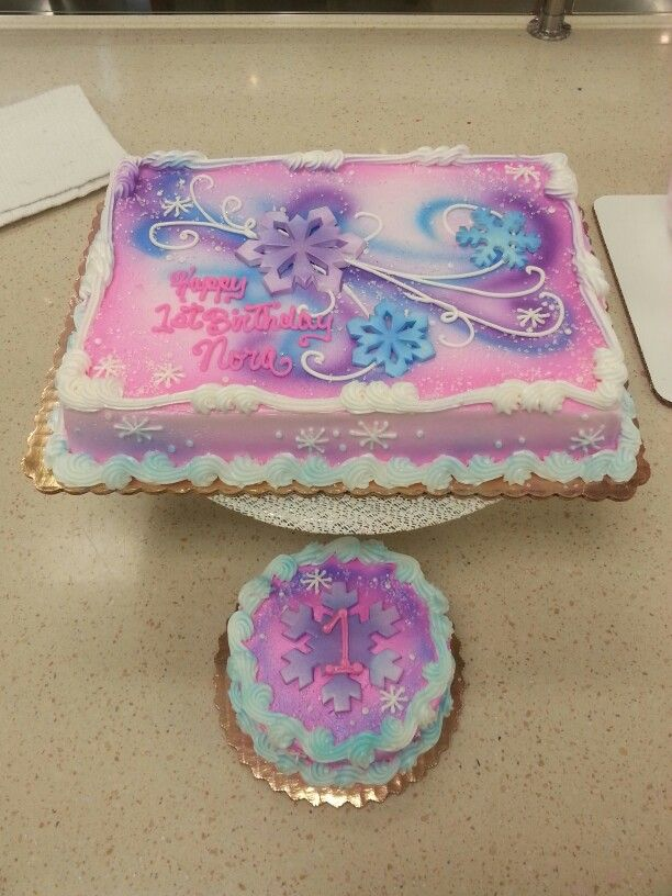 Fun winter themed sheet cake in buttercream with gumpaste accents for girls.