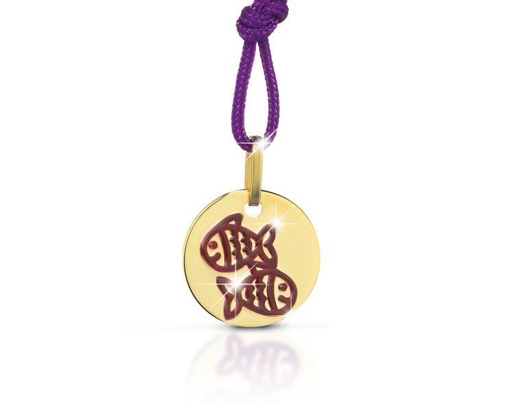 Collezione Zodiaco - Pendente oro giallo pesci in smalto viola cordino viola Diam. 12 mm.