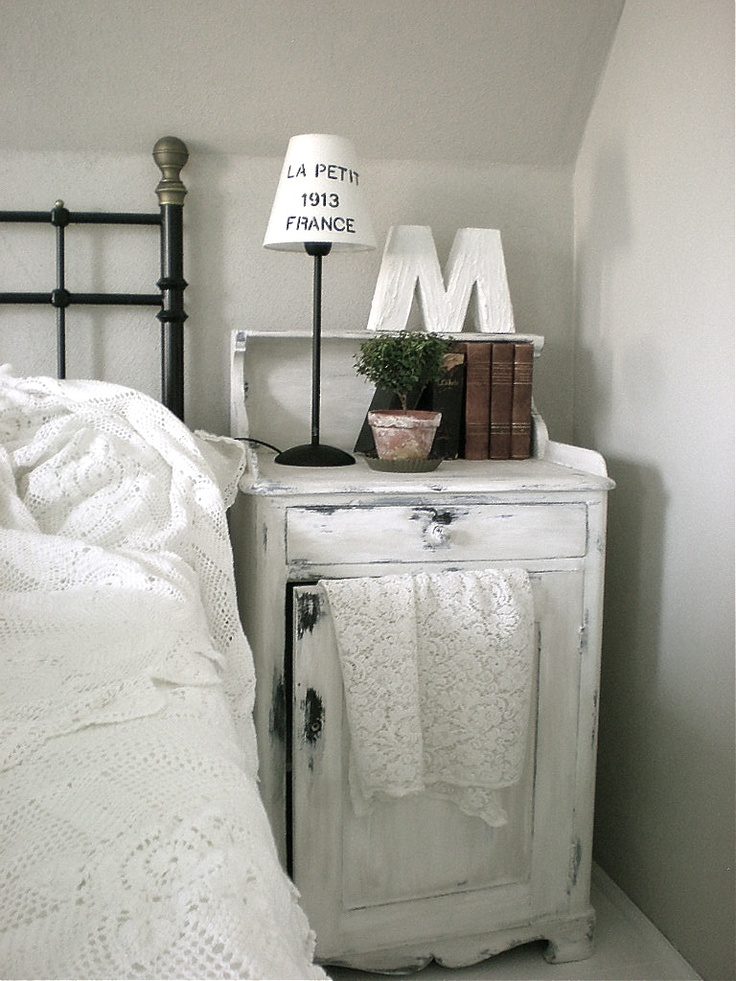 Bedroom Nightstand Whitewashed Chippy Shabby Chic French Country Rustic Swedish decor idea. ***Pinned by oldattic ***.