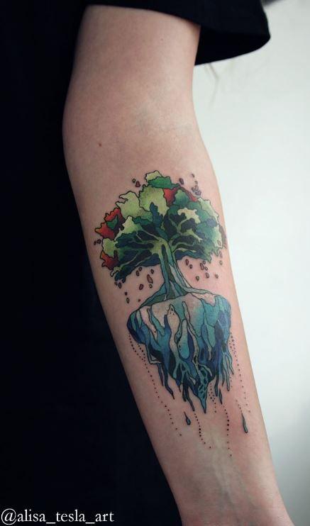 Flying Tree Tattoo