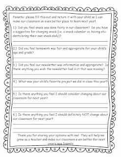 end of the year parent feedback survey