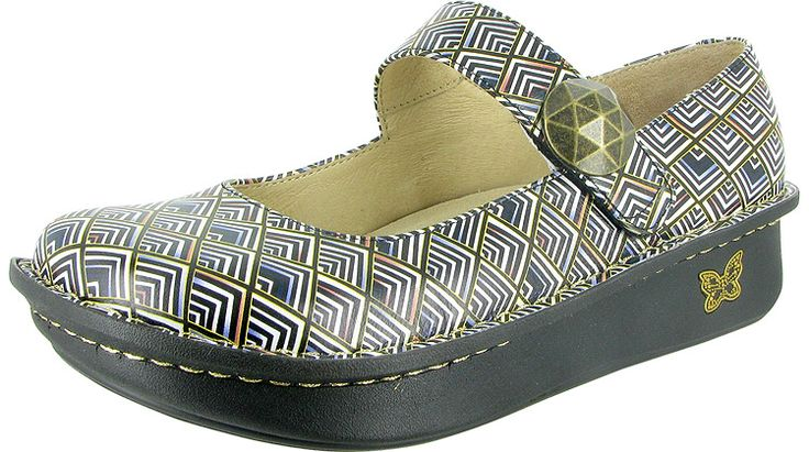 Paloma Pyramids by Alegria!  The Paloma features an adjustable velcro instep strap. Of course, it is built on the original stable, rocker outsole that is engineered to roll naturally, reducing heel and central metatarsal pressure. The flat bottom makes it easy to walk in while encouraging proper posture and normal gait.