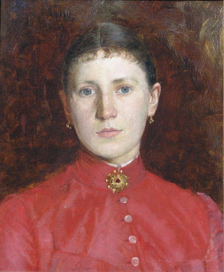 Tadeusz AJDUKIEWICZ,Portret damy, ok. 1880 - 1900, olej, płótno, 45,5 x 38,2 cm