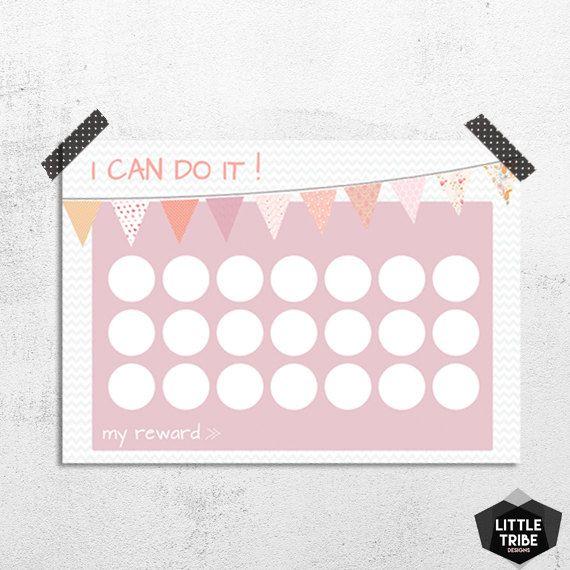 Reward and Potty Training Chart Girls by LittleTribeDesigns I - potty training chart