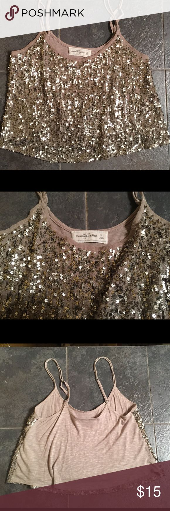 Abercrombie & Fitch cropped sequin tank M Very sexy cropped A&F sequined tank. Size M and tan in color. In great used condition. Abercrombie & Fitch Tops Tank Tops