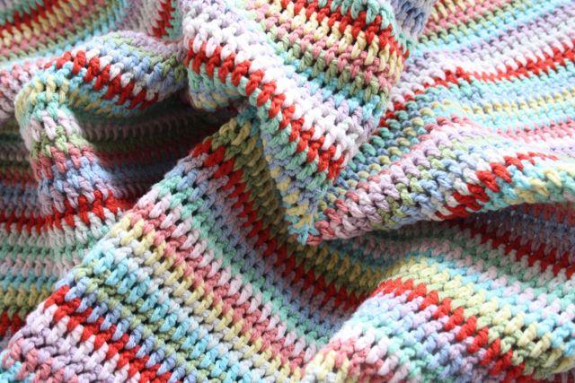 striped: Crochet Blankets, Cherries Heart, Water Bottle, Stripes Blankets, Crochet Afghans Blankets, Cottages Color, Crochet Knits, Simply Stripes, Crochet Stripes