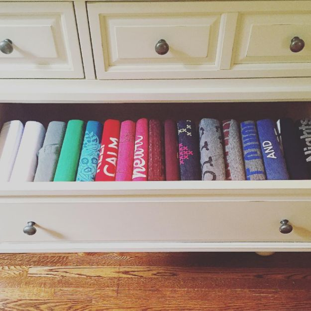 Roll, don't fold, T-shirts for maximum visibility. | 17 Real-World Closet Tips You Can Actually Use