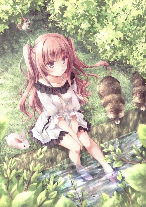 Anime girl with her toes in the water, sitting beside a woodland stream. Anime girl in a forest; anime art.