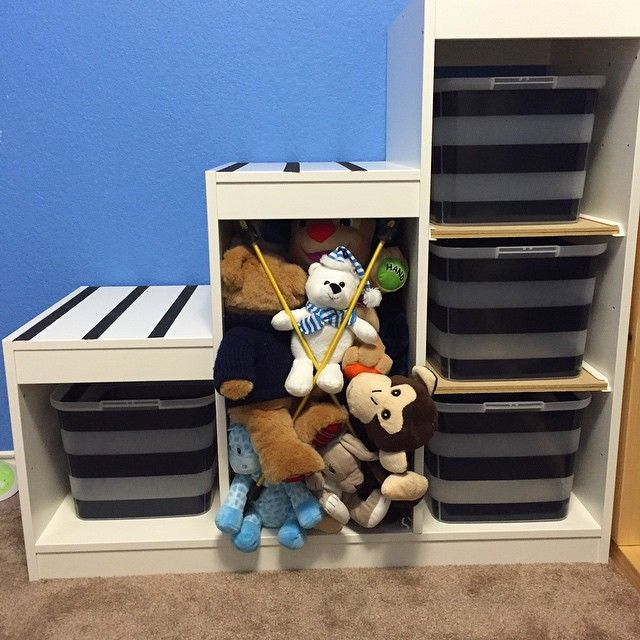 $4 worth of supplies and all the stuffed animals are in jail... I mean contained.  #hallelujah #makingourhouseourown #boysroom #playroom #storage #organization #diy