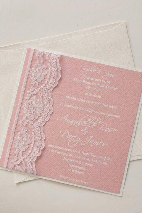 #Pastel pink wedding ... Lace wedding invitation vintage romantic pink pastel color