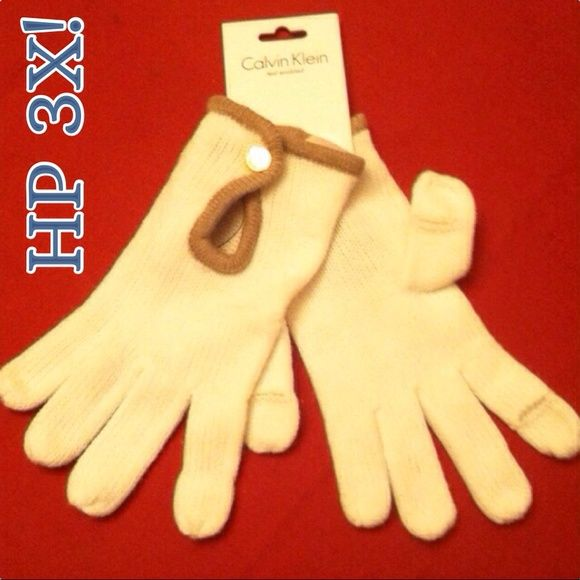 HP 3X! CK Text Enabled Cream Gloves Bloggers Essentials Party 2/23/15 Simply Sweet Style a Party HP 2/14/15 Work Week Chic Party HP 1/14/15 ⬇️FINAL PRICE⬇️ Authentic Calvin Klein Keyhole Touch Gloves! The slits in the thumb & index fingers of each glove make texting while keeping warm so easy! Cream Ribbed Knit with Almond Trim. Gold CK Button securely closes each front keyhole. 100% Acrylic. See other CK Glove Listings too. Excellent Condition. No Trades. Calvin Klein Accessories Gloves…