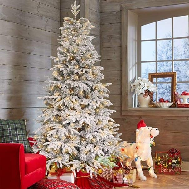 19 Best Flocked Fake Christmas Trees 2021 Absolute Christmas Fake Christmas Trees Flocked Christmas Trees Colorful Christmas Tree