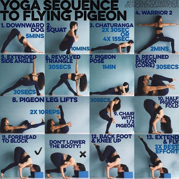 "YOGA SEQUENCE TO FLYING PIGEON: 3 years ago I didn't even know arm balancing existed, I also couldn't even really pigeon but through patience & dedication a flying pigeon is now possible, if I could do it, so can you Warm up: SUN A & B x5 each 1. DOWNWARD DOG This is my go to for any sort of strengthening sequence as while it does make the shoulders burn it also makes you realise the importance of having a solid foundation & how it will relate to all ""harder"" poses 2. SQUAT If your heels…"