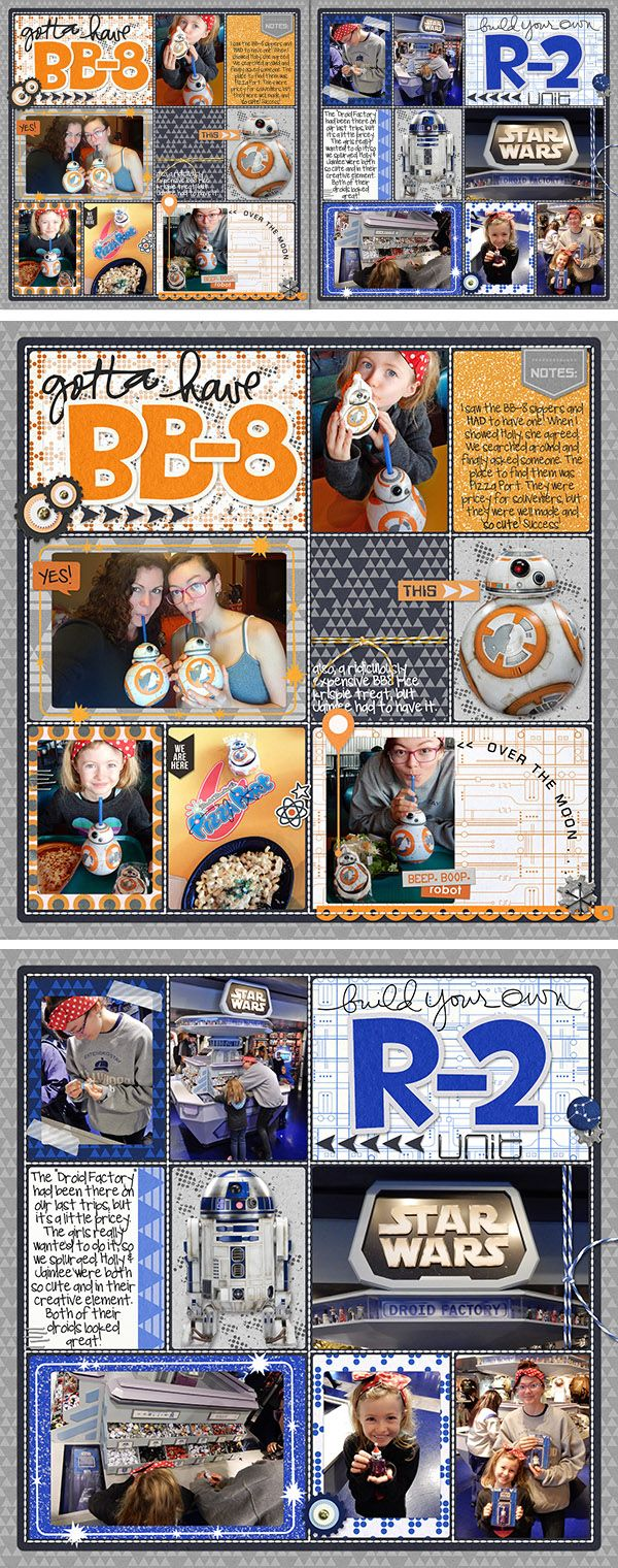 Enjoying all the cool Star Wars stuff on our Disney trip including building our own R-2 units and getting cool BB-8 merchandise. Pocket style scrapbook pages using Project Mouse Tomorrow Bundle