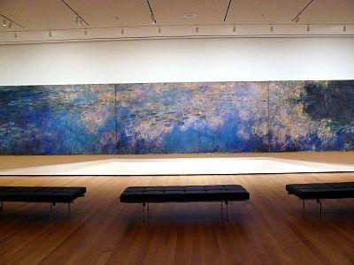 Section of the Water Lilies series by Claude Monet.  c.1917-25.  Oil on canvas.  Musee de l'Orangerie, Paris, France.