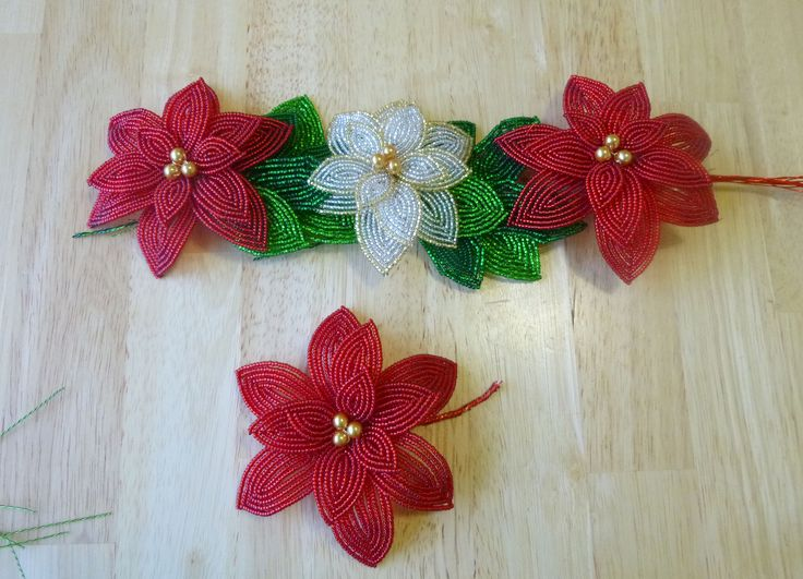 French Beaded Poinsettias