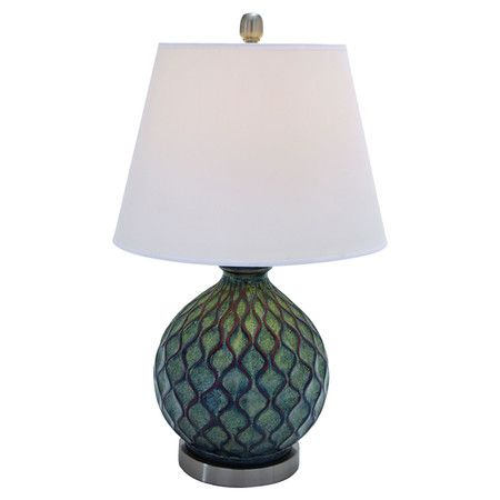 Ceramic table lamp with a textured base and bell shade product table lampconstruction material ceramic metal and fabriccolor teal and whitefeatures
