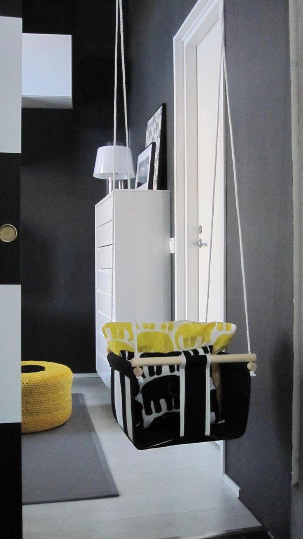 Topi-vauvan huone - kiikku #lastenhuone #kidsroom #tetris #keltainen #mustavalkoinen #diy