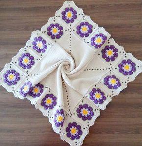 Tığ işi çiçekli bebek battaniyesi