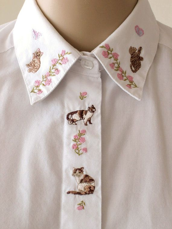 Embroidered Cat Collar Shir