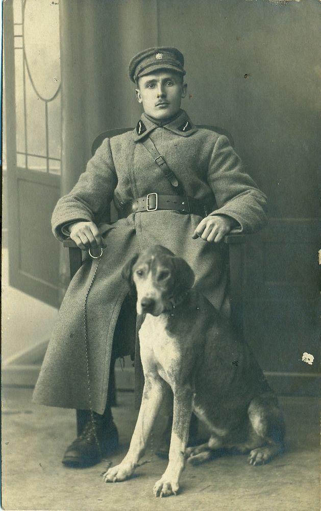 Latvian Military Man with Dog Photo 1920 s