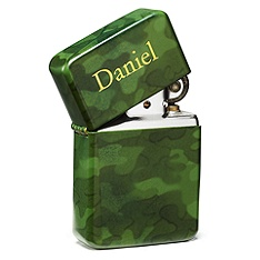 """clearance prices are good only while supplies last. tell your guys the halcyon days of your weekends around campfires don't need to come to an end. this camouflage lighter is a great little gift for any guy in your wedding party. it's cool, but will help him remember being a smokin' part of your big day. our camo lighter comes packaged in a cool tin black case. measures 2 1/4"""" h x 1 1/2""""w.    Price : $19.95"""