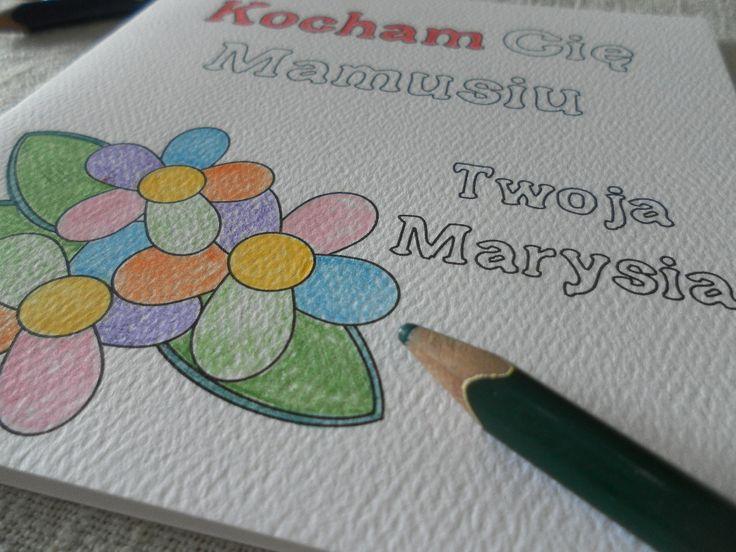 Kartka - kolorowanka z okazji Dnia Mamy.