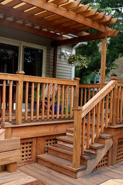 Semi Covered Wooden Multi Level Decks Design Ideas, Pictures, Remodel, and Decor - page 11