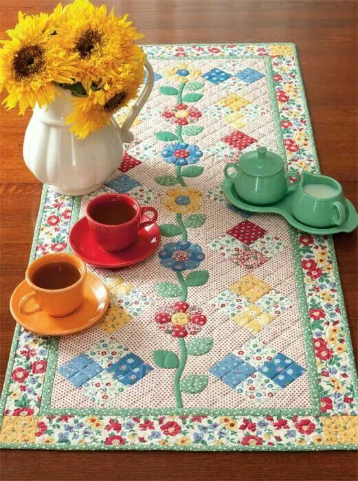 Spring quilt table runner.