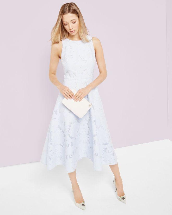 Burnout jacquard midi dress - Powder Blue | Dresses | Ted Baker