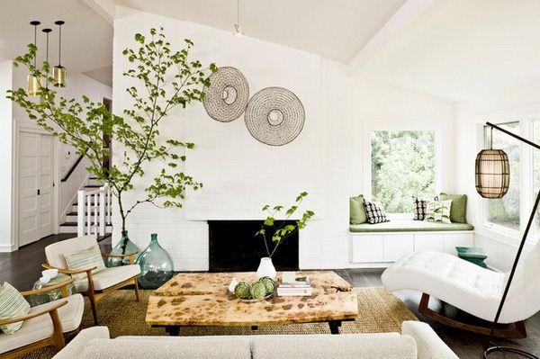 Living every season mantelpiece carboy plants flowers decoration idea