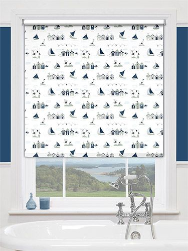 Splash Beach Hut Navy Roller Blind From Blinds 2go