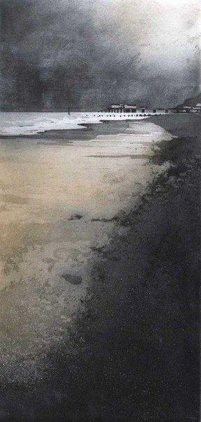 """Художницa #Chrissy_Norman Вера Зубарева   """"Ветер с утра запустил облака воздушными змеями. Волн паруса раздуваются чудо-фрегатами. Нет ничего зыбучей прибрежного времени И постоянней пространства морского с возвратами Белой воды в пузырях и вишневого солнца."""""""