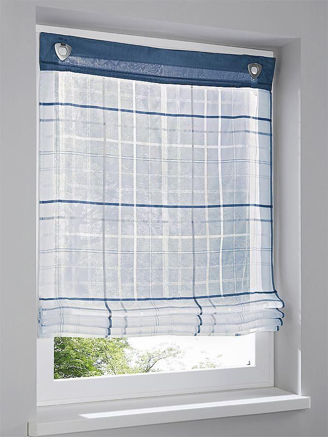 Aus 100% Polyester. Leicht transparent. Karo-Dessin. Uni Dekoblende oben. 2 Haken und Ösen. H ca. 140 cm....