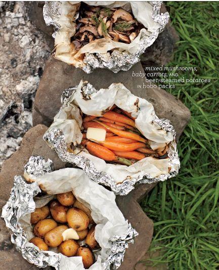 Tara Donne photography {taradonne.com} Camping food :) parchment paper inside the foil as a barrier, brilliant!!