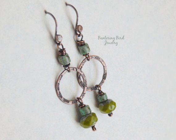 Bridesmaid Earrings Blue Jewelry Copper Kidney Earrings Antique Style Earrings Blue Earrings Blue Agate Earrings Blue Dangle Earrings