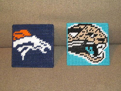 nfl teams on plastic canvas | Original NFL Coasters in Plastic Canvas Pattern Book (AFC Only) - PDF