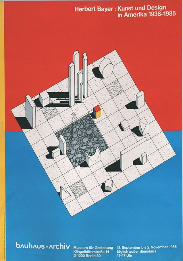 Herbert Bayer, artwork for exhibition poster Kunst und Design in Amerika, Berlin, 1985