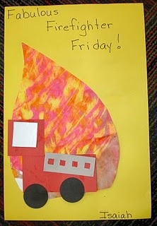 Shape Firetruck. On Monday make fire! Squeeze on red, yellow, orange and little brown paint onto a BIG piece of paper. Next, cover it with clear plastic wrap and squish the paints all together. After several days the paint is dry enough to cut into the shape of a flame. next comes the firetruck!