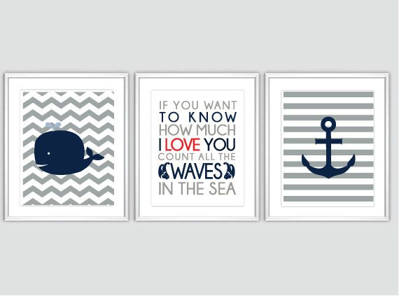 Nautical Nursery Art Baby Boy Nursery Art Chevron Whale